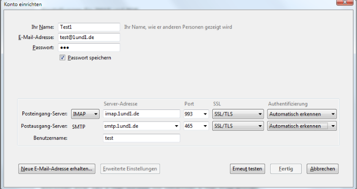 1und1 imap Android outlook