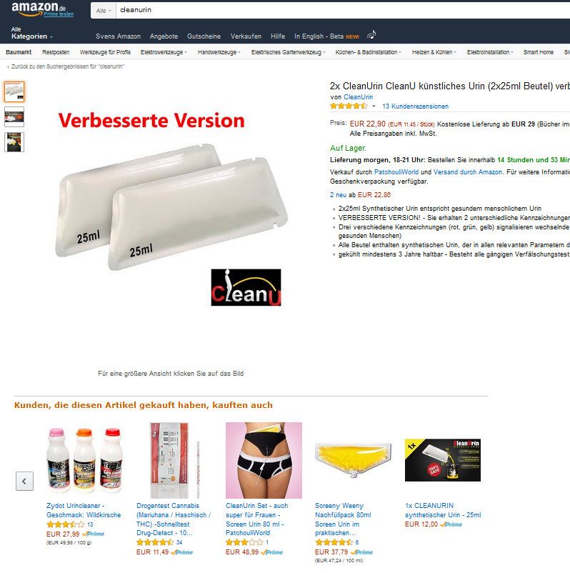 Amazon: Drogenkontrolle? (Screen: Amazon)