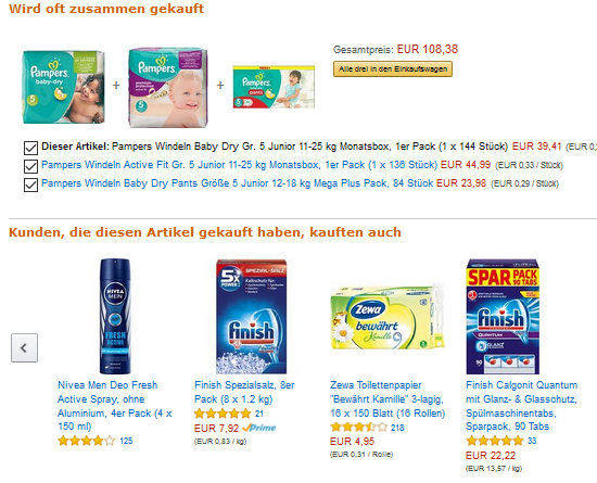 Amazon-Empfehlung zu Windeln (Screen: Amazon)
