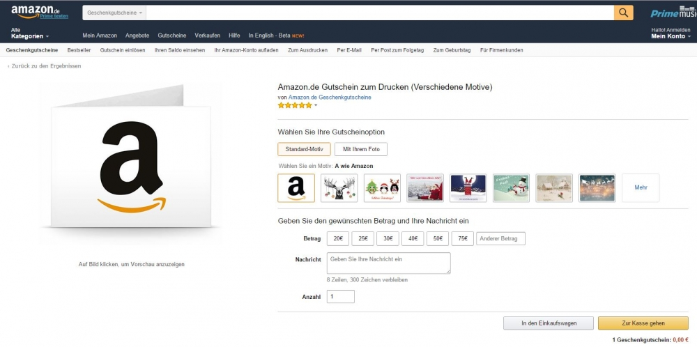 amazon gutschein download