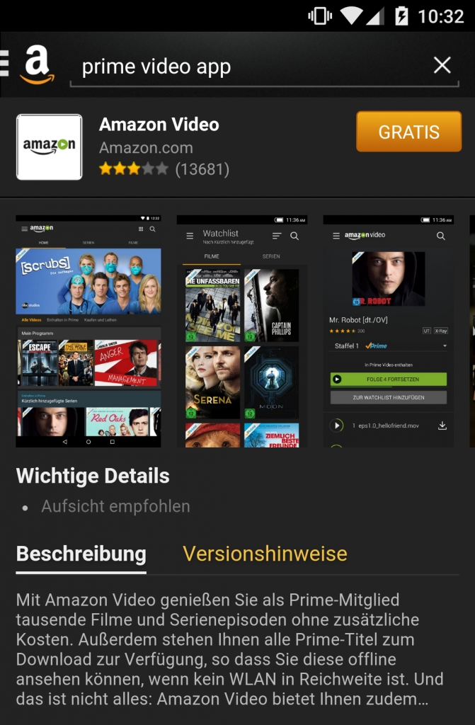 Amazon Prime Video: Android-App