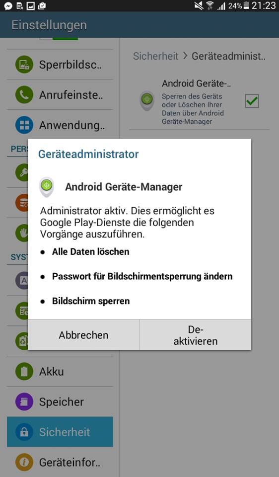 Android: Ortung aktivieren