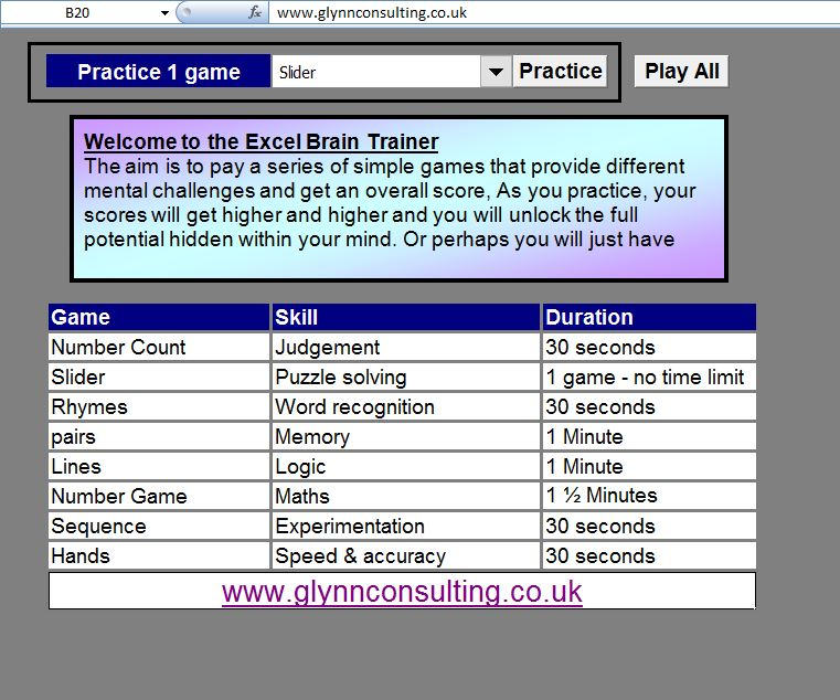 Brain Trainer in Excel