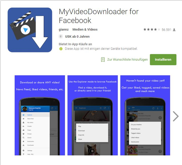FB-Videos mit App downloaden