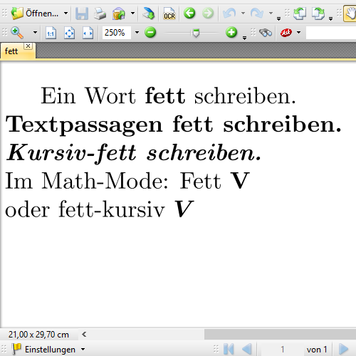 Fette Texte in LaTeX