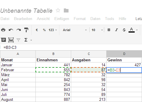 excel differenz formel