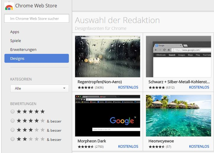 Google Chrome Store mit Themes