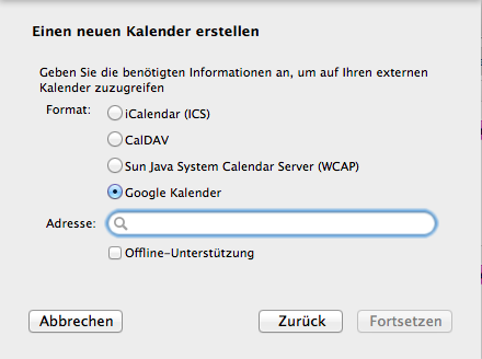 Google-Kalender in Thunderbird