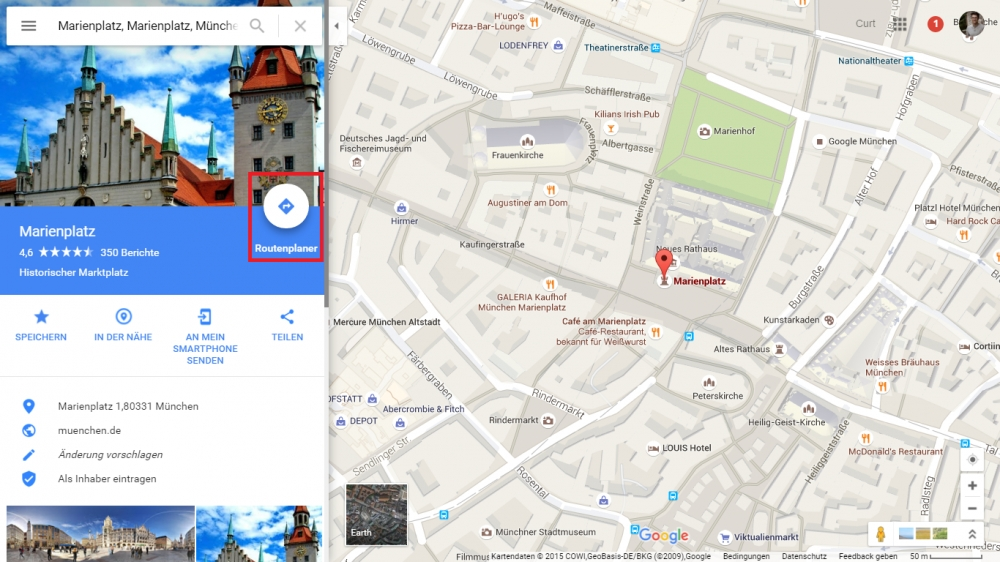 google maps route berechnen so geht s chip. Black Bedroom Furniture Sets. Home Design Ideas