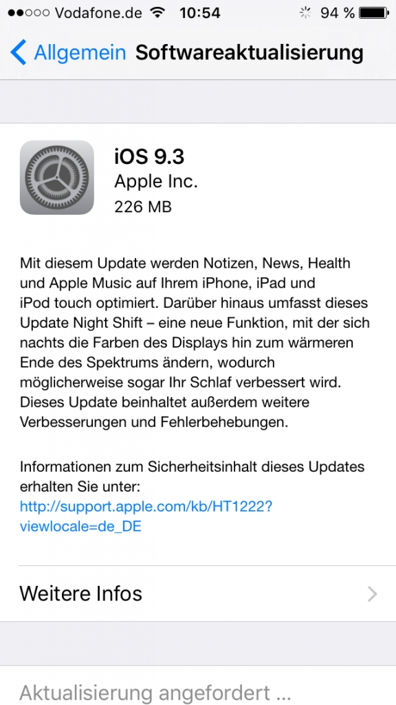 iOS 9.3: Update mit Night Shift Modus