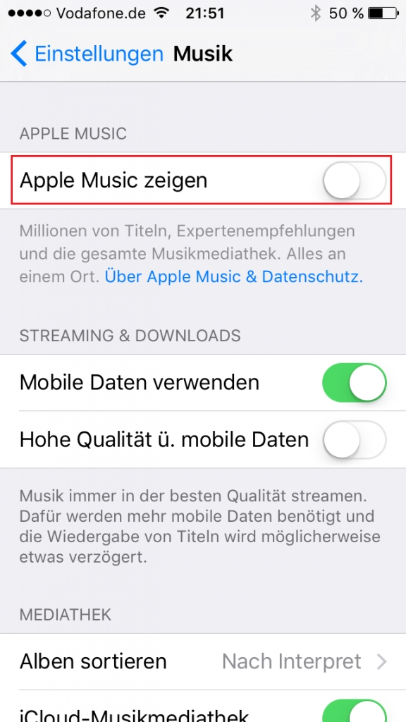 iPhone: Apple Music deaktivieren