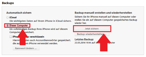 iPhone: Backup über iTunes