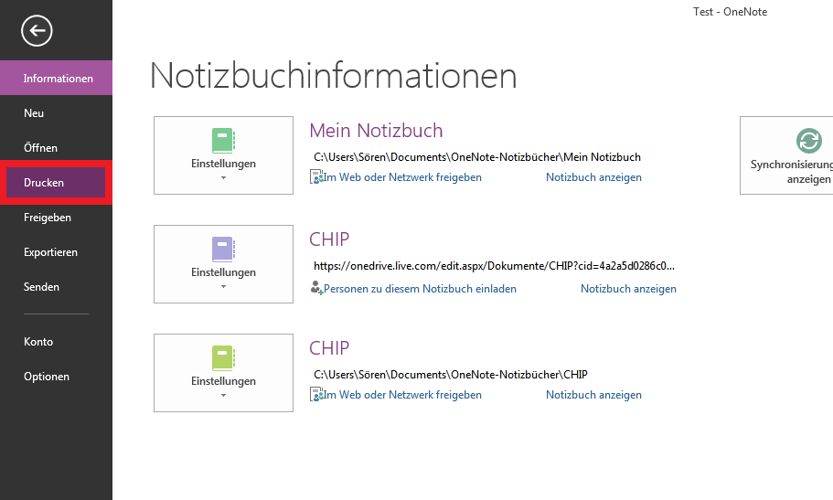 Notizen in OneNote ausdrucken
