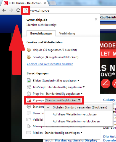 popup blocker aktivieren chrome