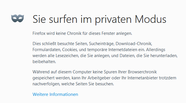 Privater Modus in Firefox