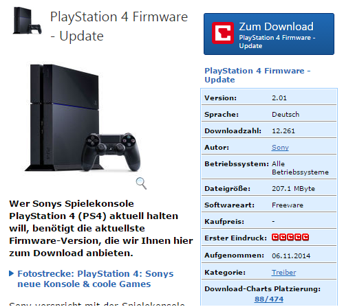 PS4: Firmware-Update ohne Internet