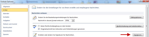 Signatur-Option in Outlook