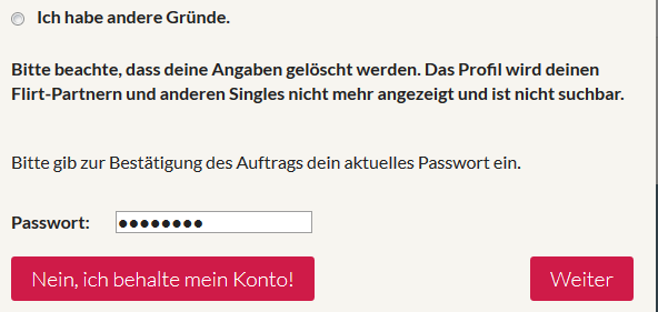 Account bei single.de loschen