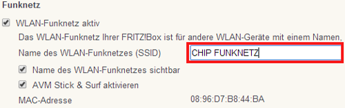 SSID-Eingabe in der FritzBox