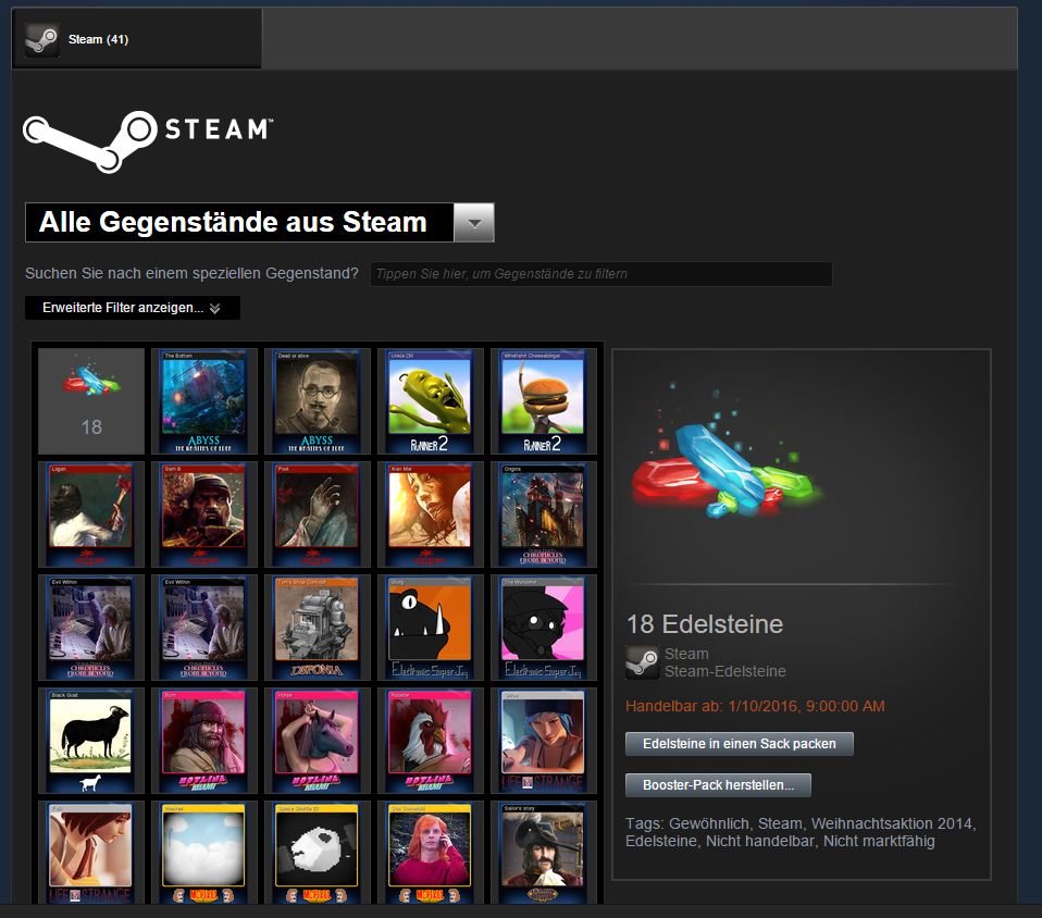 steam gems wofür