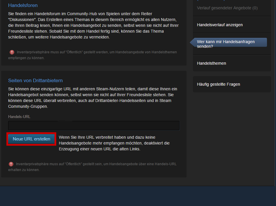 steam handels url finden