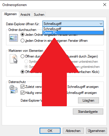 Windows 10: Explorer anpassen