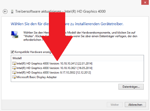 Windows: Alter Grafiktreiber