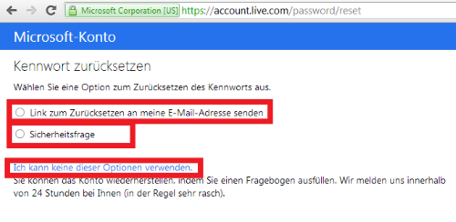 windows live id vergessen