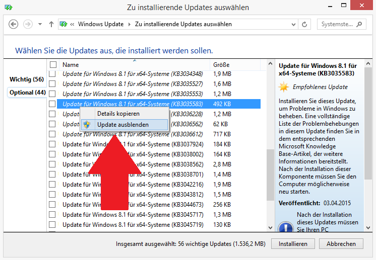 Windows: Update KB3035583 ausblenden
