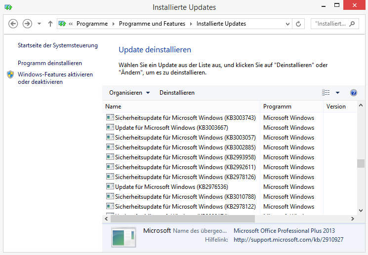 Windows: Update KB3035583 entfernen