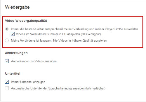 Youtube-Videos in HD abspielen