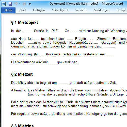 Mietvertrag Muster Download Freeware De 10