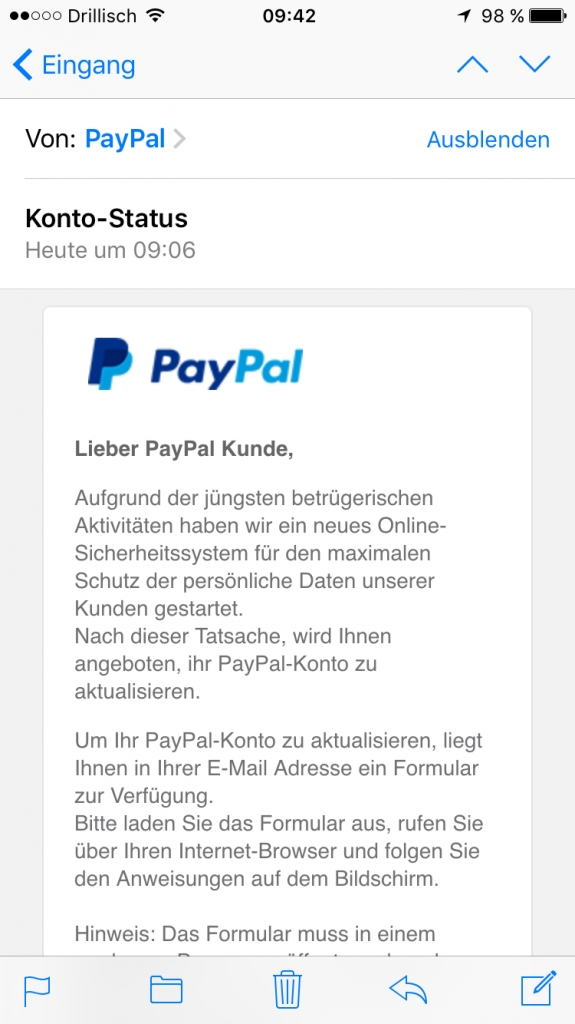 Spam Mail Paypal
