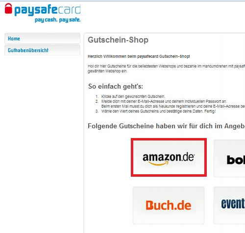 Amazon Gutschein Paysafe