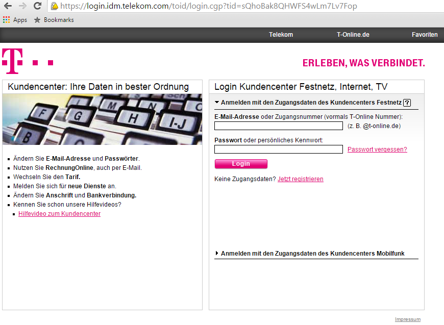 telekom rechnung online einsehen so geht s chip. Black Bedroom Furniture Sets. Home Design Ideas